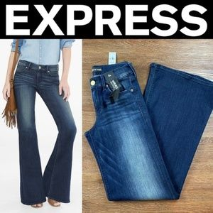NEW EXPRESS FADED MID RISE WIDE LEG FLARE JEANS